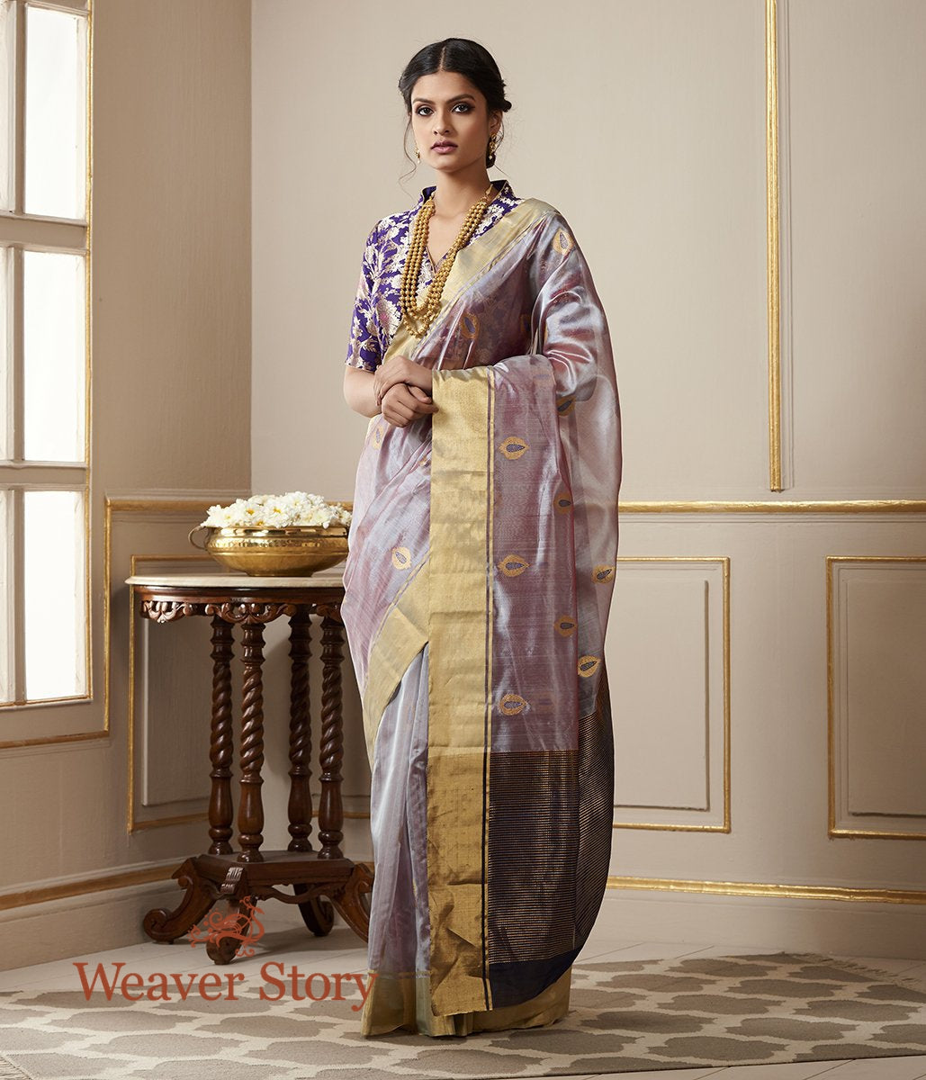 Handwoven Mauve Dual Tone Chanderi Silk Saree with Mughal Motif