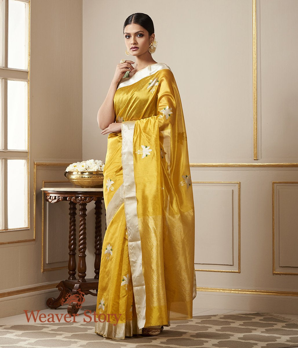 Handwoven Turmeric Yellow Chanderi Silk Saree with Birds on a Tree