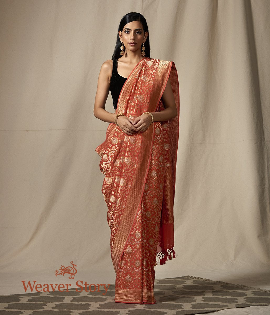 Handwoven Banarasi Georgette Saree in Coral Red with Gold and Silver Zari