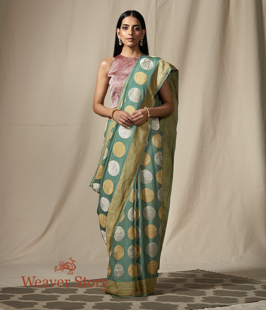 Handwoven Banaarsi Georgette Saree in Sage Green with Kadhwa Boota