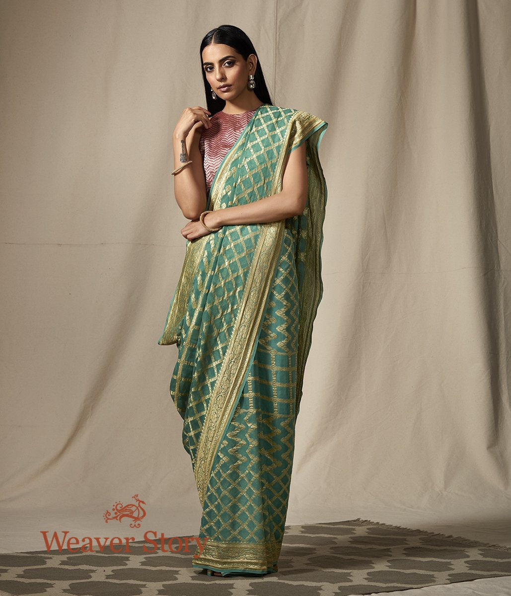 Handwoven Banarasi Georgette Jaal in Green with Gold Zari Jaal
