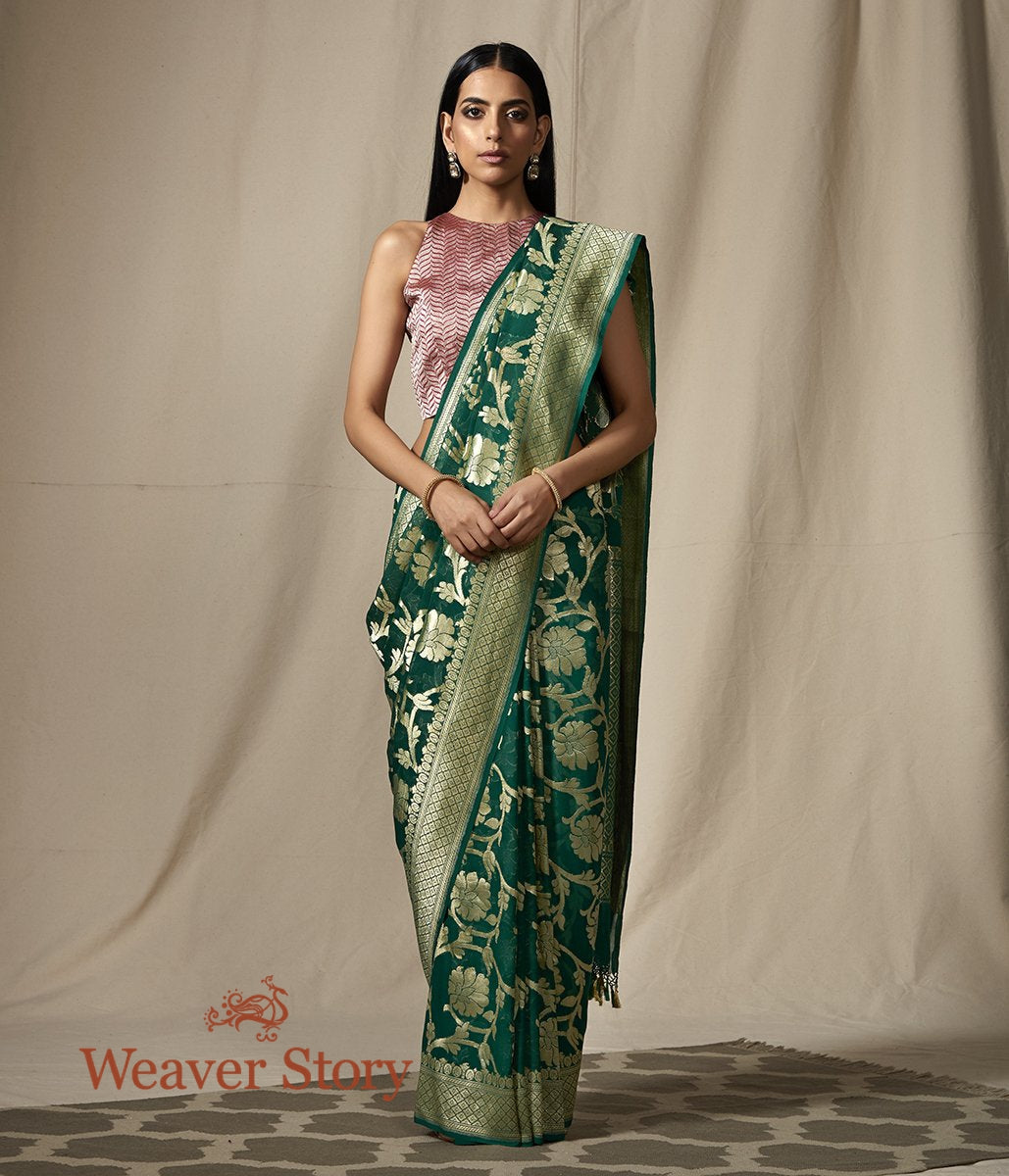 Handwoven Banarasi Georgette in Dark Green with Floral jaal