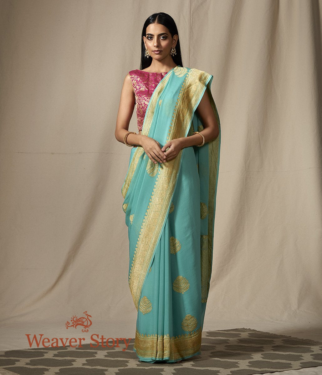 Handwoven Sea Green Banarasi Georgette Saree with Kadhwa Boota