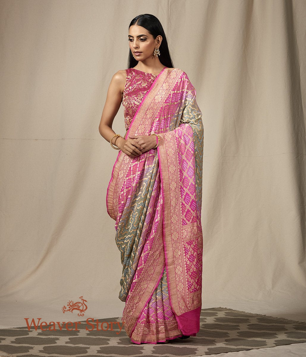 Handwoven Banarasi Bandhej Saree in Grey and Pink ombre dye