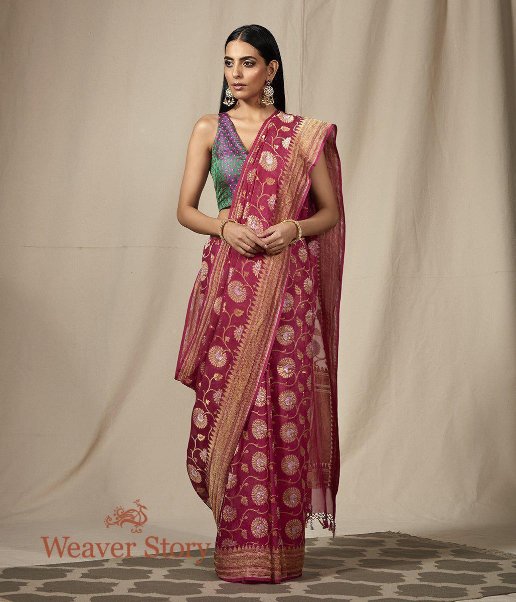 Handwoven Pink Banarasi Georgette Saree with Gold and Silver Floral Jaal