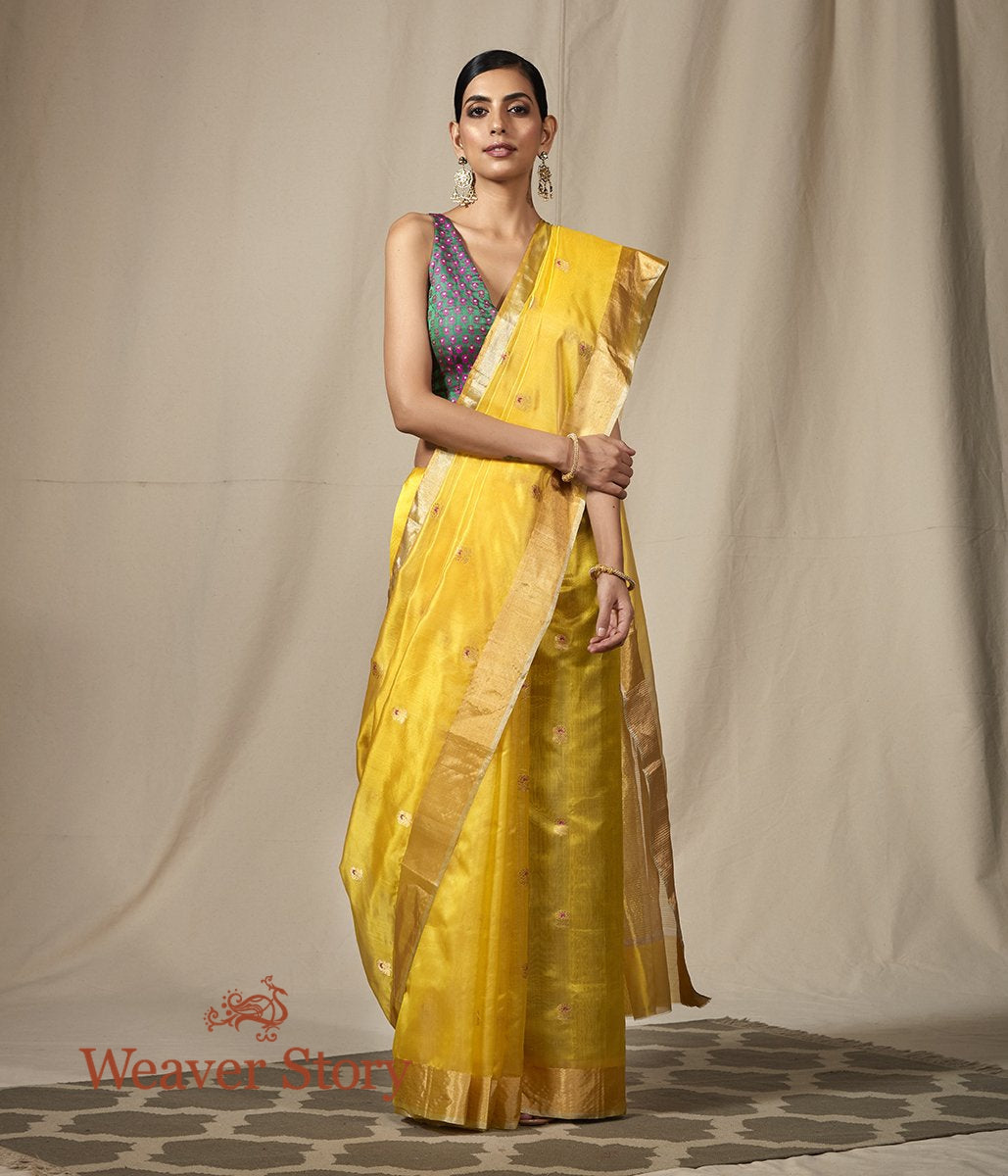 Handwoven Yellow Chanderi Silk Saree with Small Floral Motifs