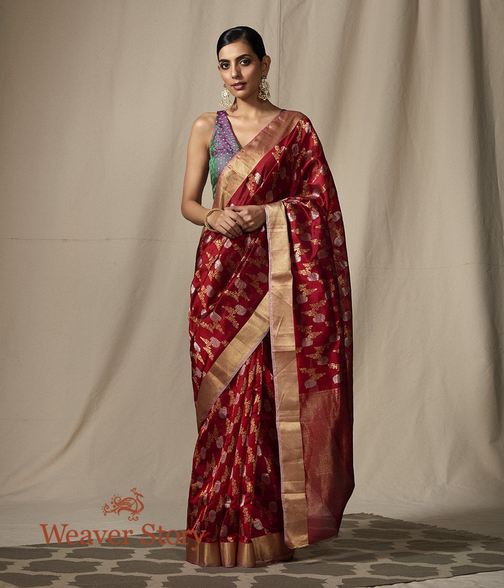 Handwoven Maroon Chanderi Silk Saree with Floral Jaal