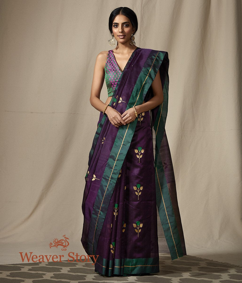 Handwoven Purple Chanderi Silk Saree with Green Mushroo Border