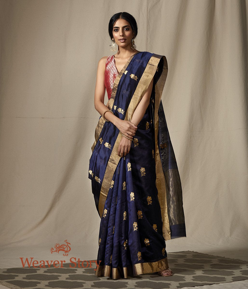 Handwoven Blue Chanderi Silk Saree with Gold Zari Floral Motifs