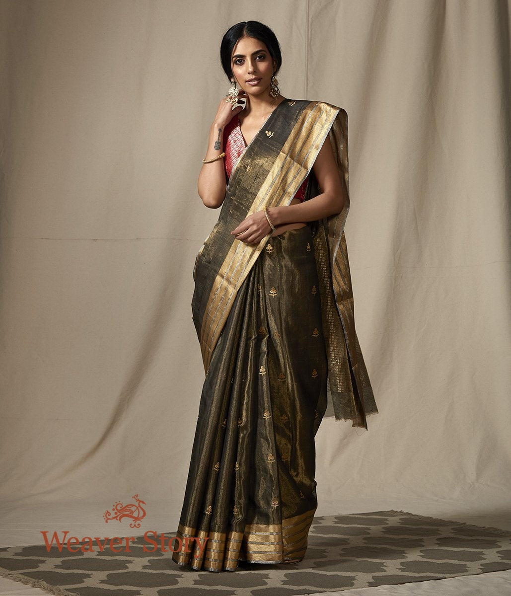 Handwoven Black and Gold Chanderi Silk Tissue Saree with Gold Zari Floral Motifs