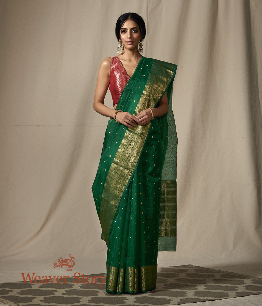 Handwoven Green Silk Organza Saree Woven in Chanderi