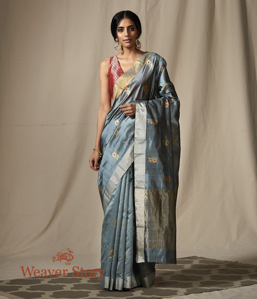 Handwoven Chanderi Silk Saree in Grey with Gold Flower Motifs
