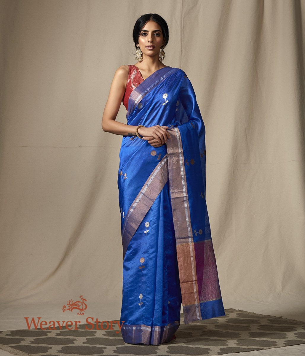 Handwoven Blue Chanderi Silk Saree with Gold Flower Motifs