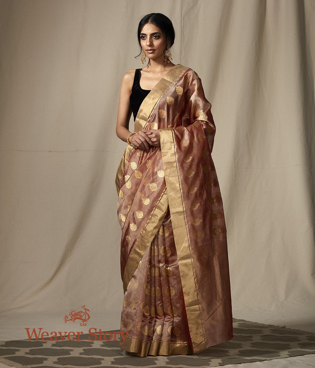 Old Rose chanderi silk saree with gold zari boota with meenakari