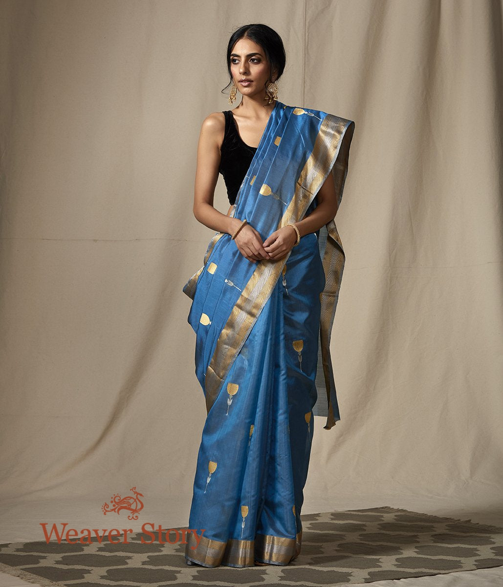 Blue Chanderi Silk Saree with Gold and Silver Zari Boota with Meenakari