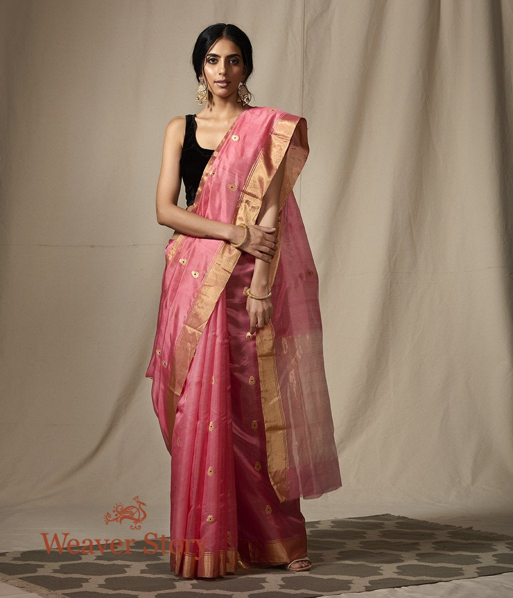 Rose Pink chanderi silk saree with gold zari boota with meenakari