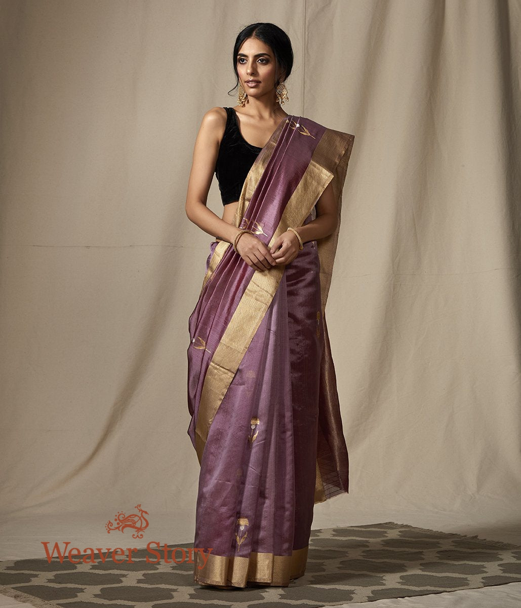 Purple Chanderi Silk Saree with Gold and Silver Zari Boota