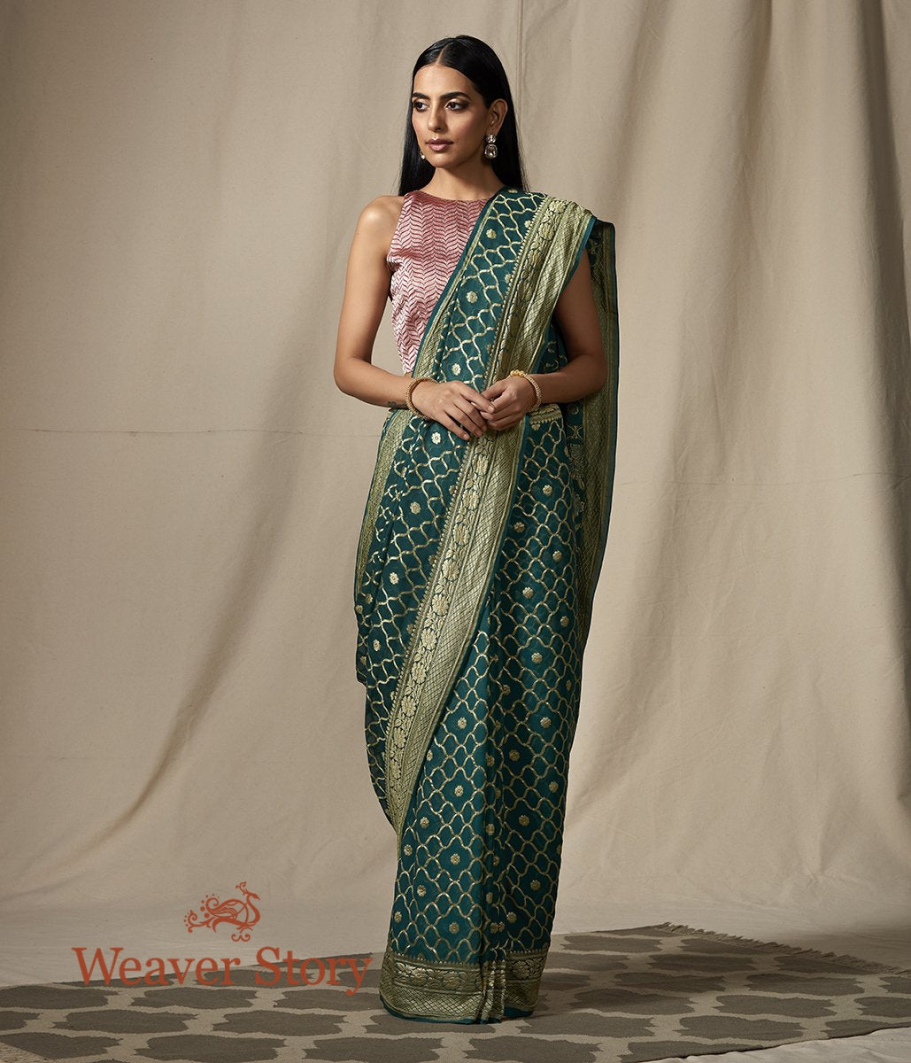 Handwoven Banarasi Georgette Saree in Green with Gold Zari Jaal
