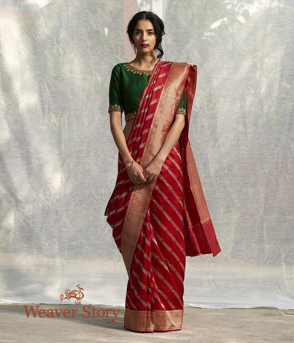 Handwoven Red Silk Saree with Diagonally Woven Meenakari Bel