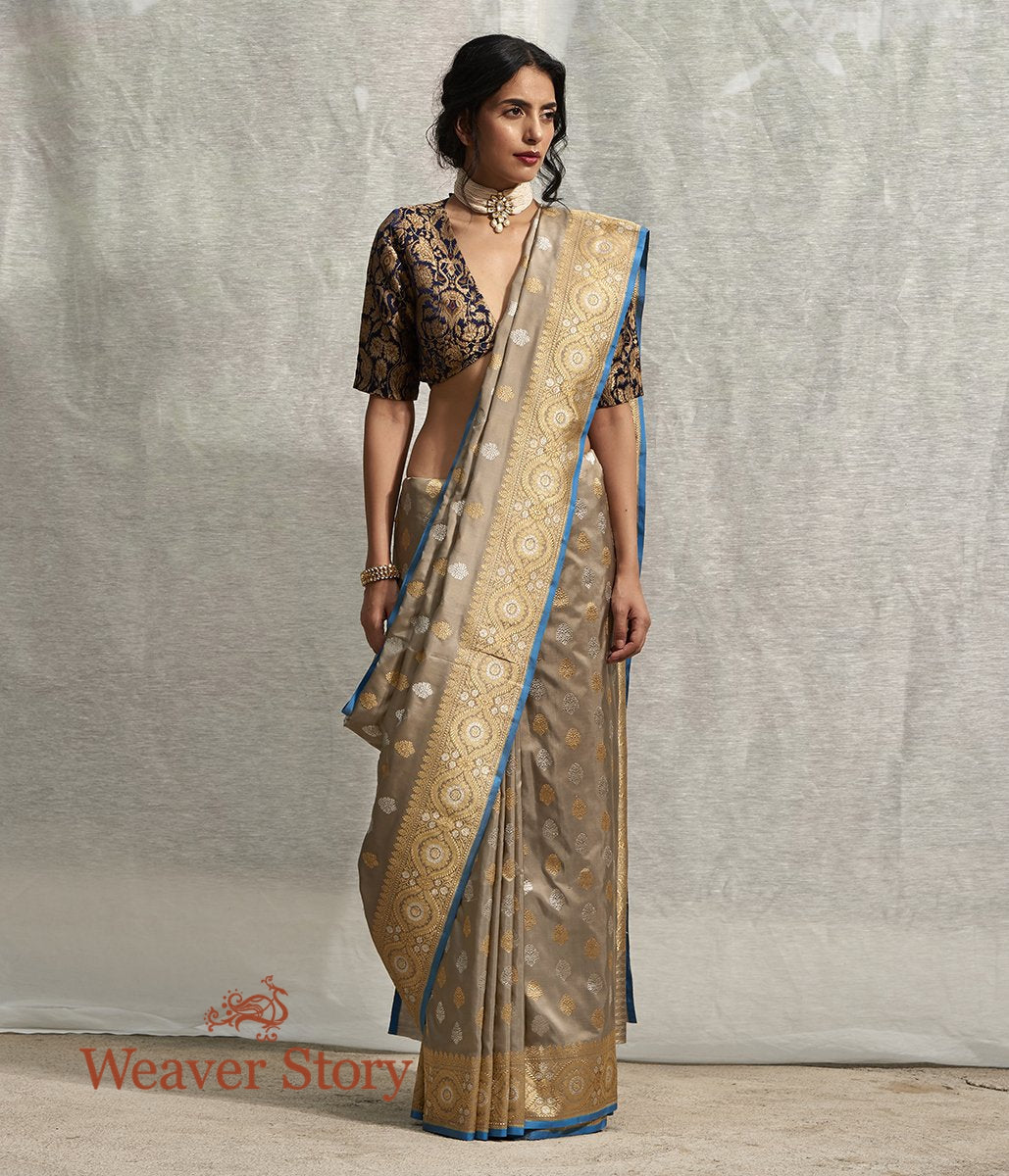 Handwoven Grey and Beige Dual Tone Banarasi Saree with Kadhwa Booti and Blue Selvedge
