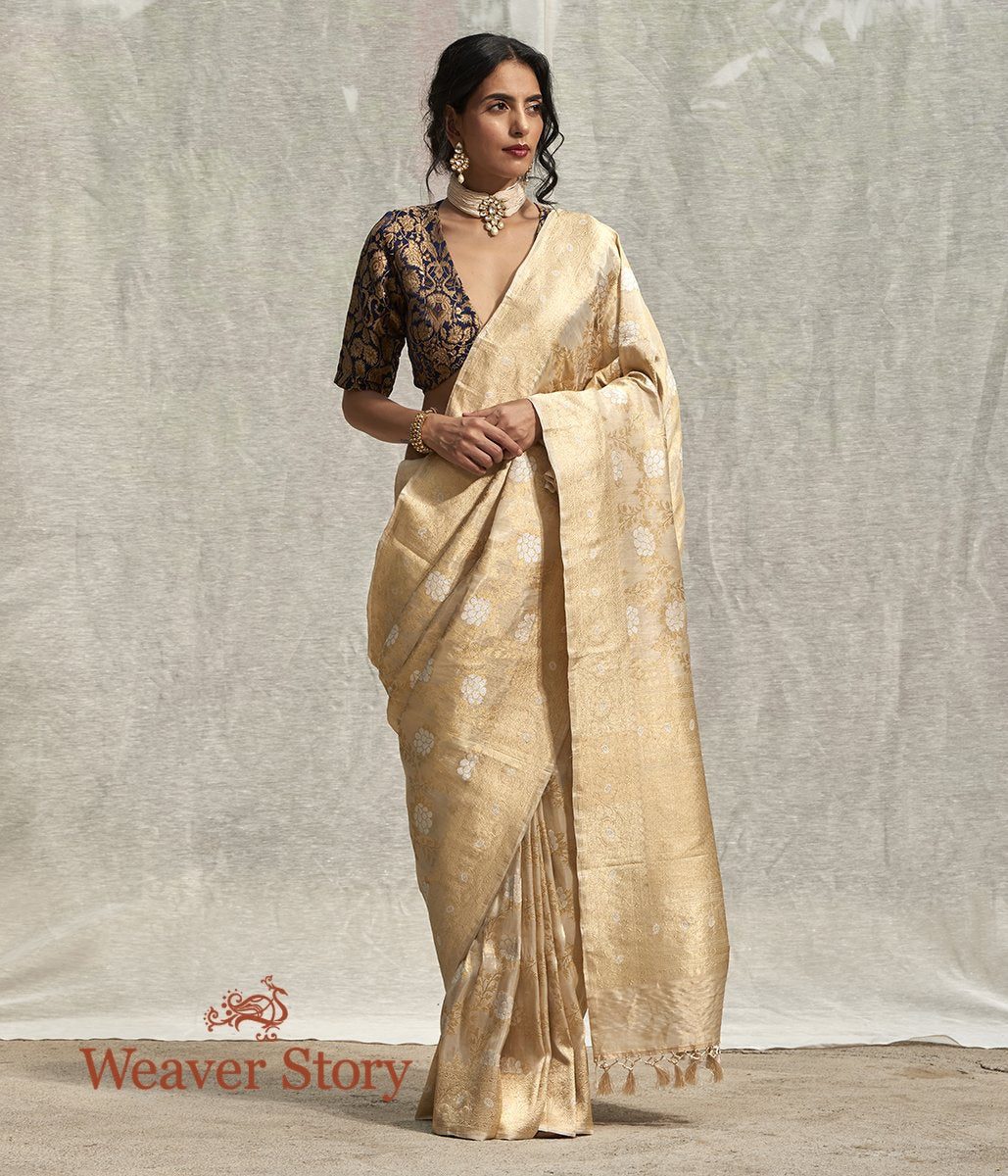 Handwoven Gold Banarasi Tissue Silk Saree with all over Gold and Silver Angoor Jaal