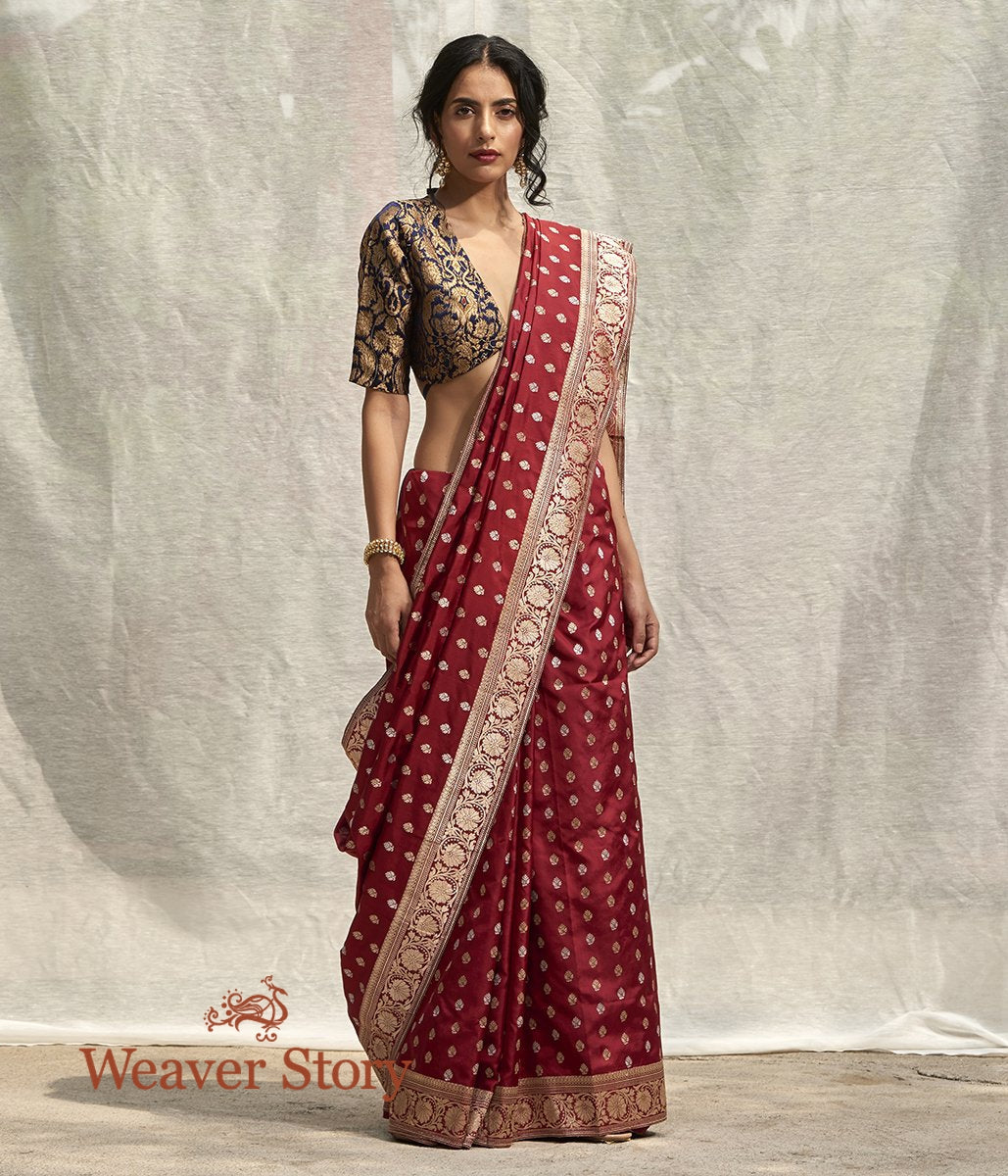 Handwoven Wine Banarasi Saree with Kadhwa Booti and Floral Border Woven in Gold Zari