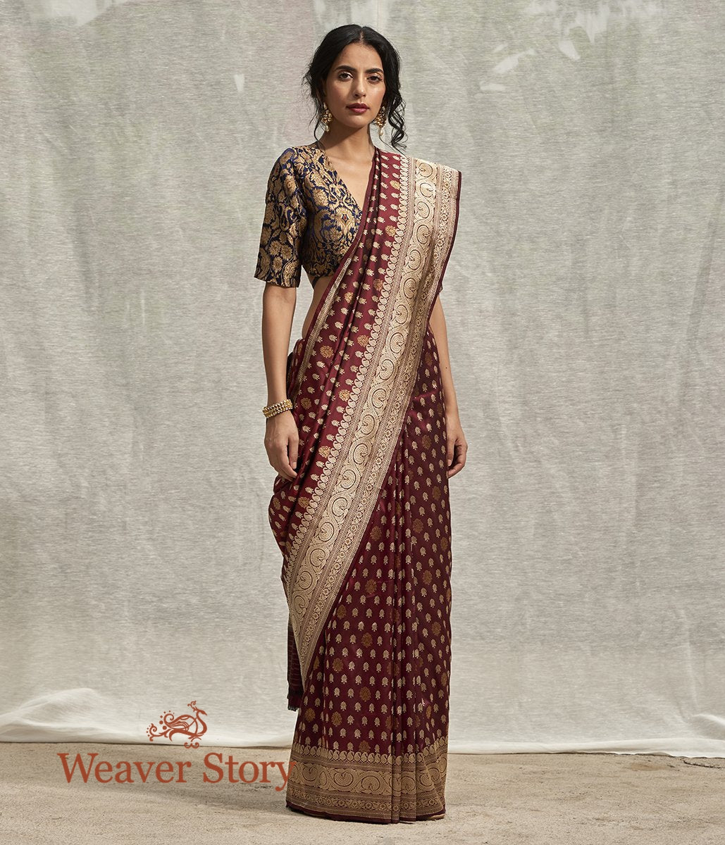 Handwoven Wine Banarasi Saree with Kadhwa Booti and Beldaar Border