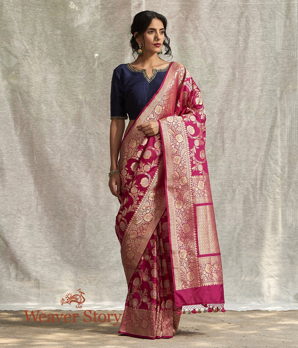 Handwoven Pink Banarasi Jangla Saree with all over Gold Zari Weave