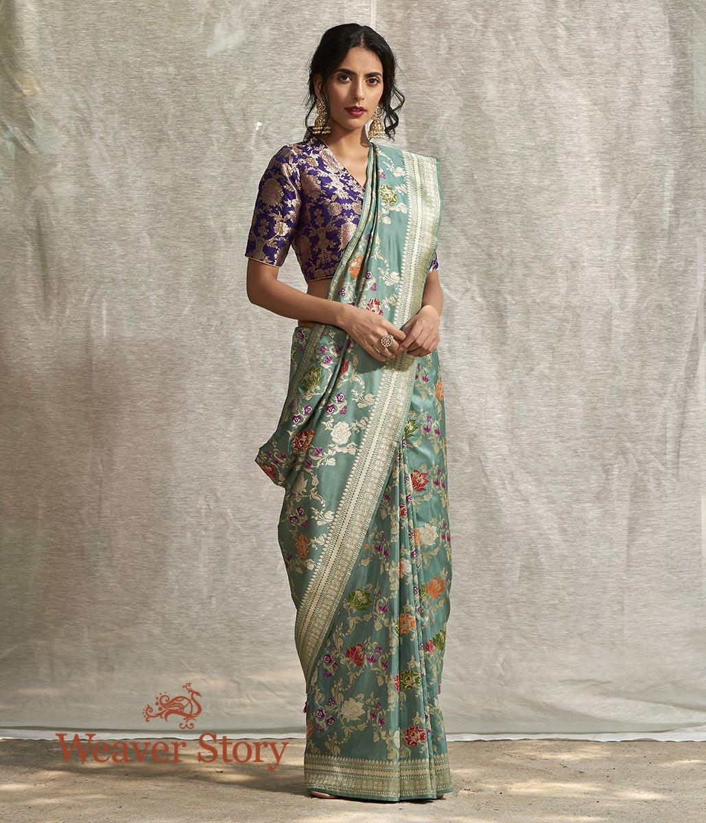 Handwoven Sage Green Banarasi Saree with Meenakari Jaal