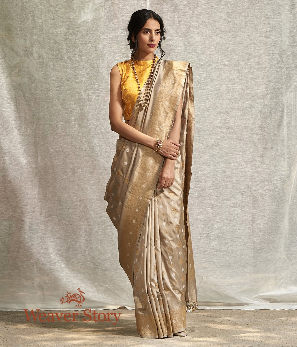Handwoven Beige and Gold Dual Tone Banarasi Saree with Kadhwa Booti