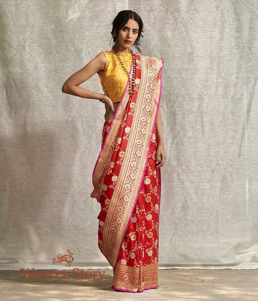 Handwoven Chilly Red Banarasi Jangla Saree with Meenakari