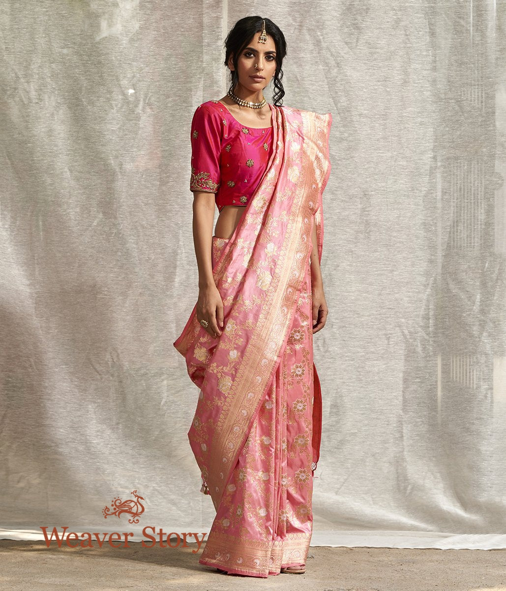 Handwoven Rose Pink Banarasi Jangla Saree with Meenakari