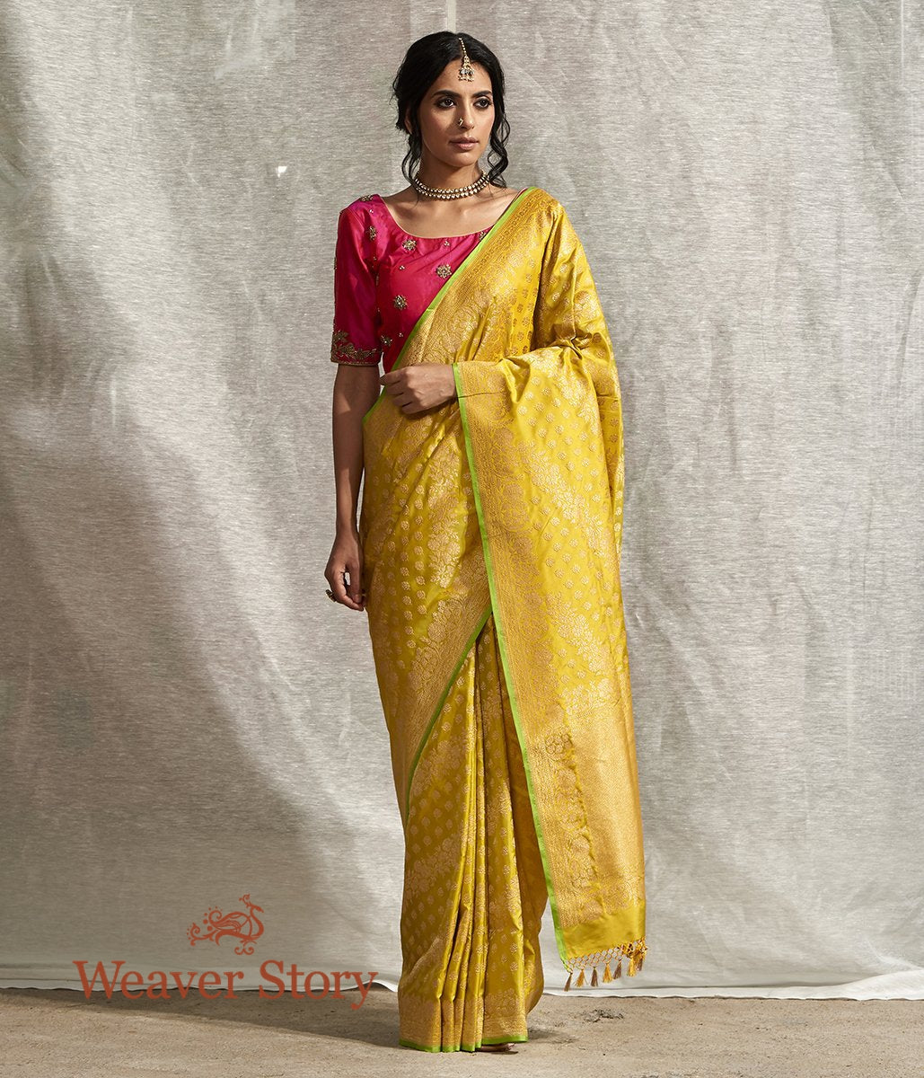 Handwoven Green and Yellow Dual Tone Kadhwa Banarasi Jangla with Floral Weave