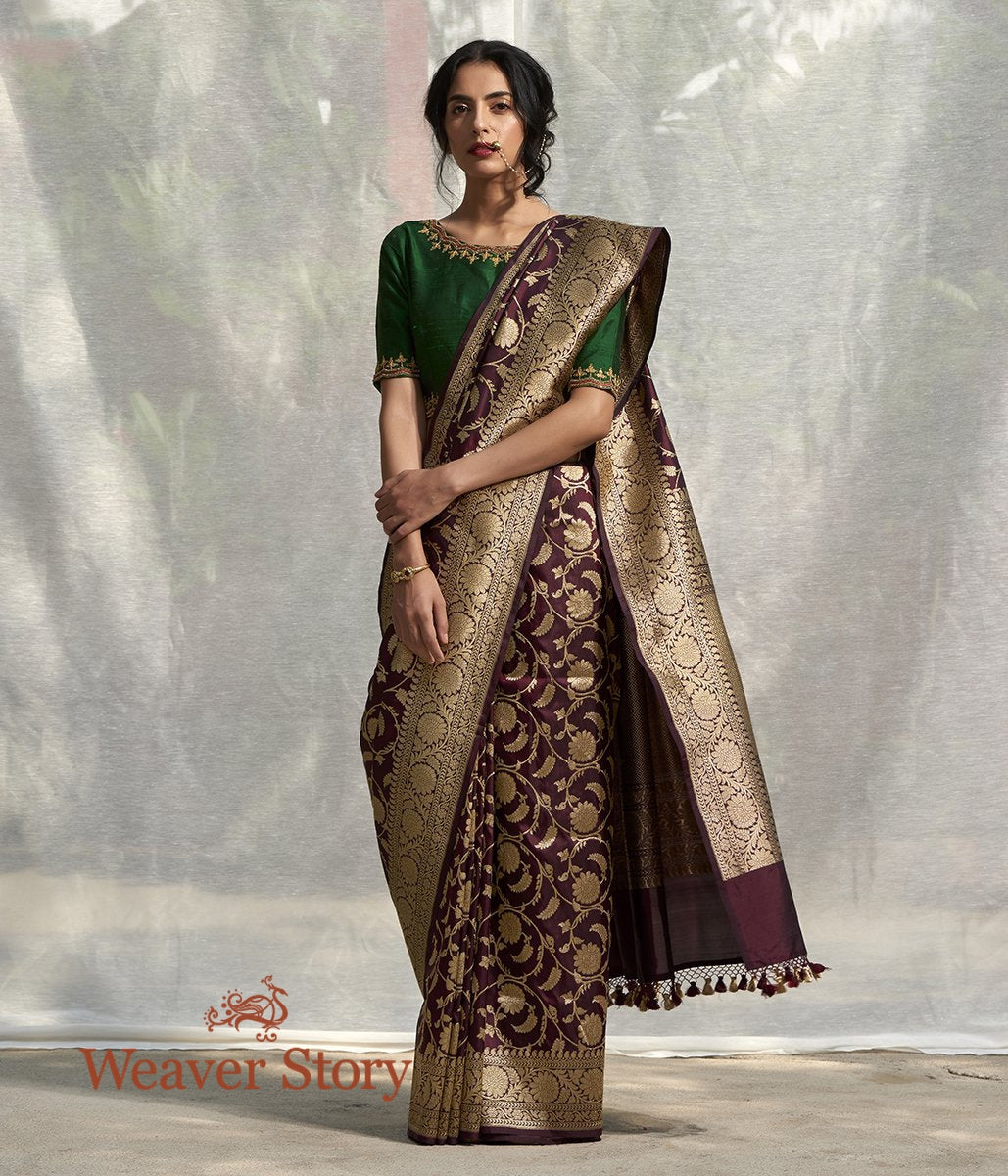 Handwoven Wine Banarasi Saree with Floral Jaal