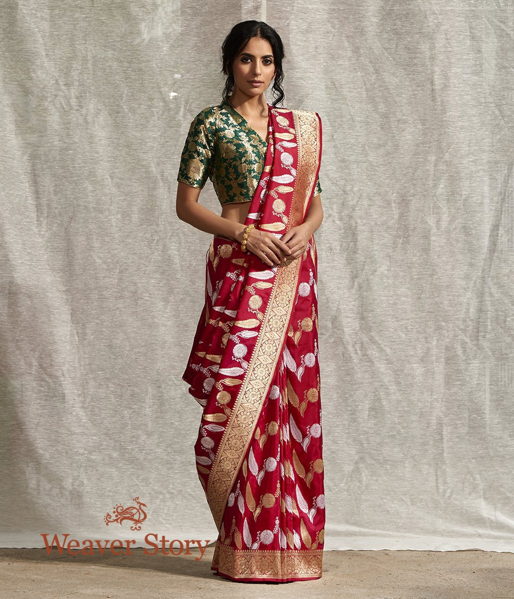 Handwoven Ruby Red Banarasi Jangla Saree