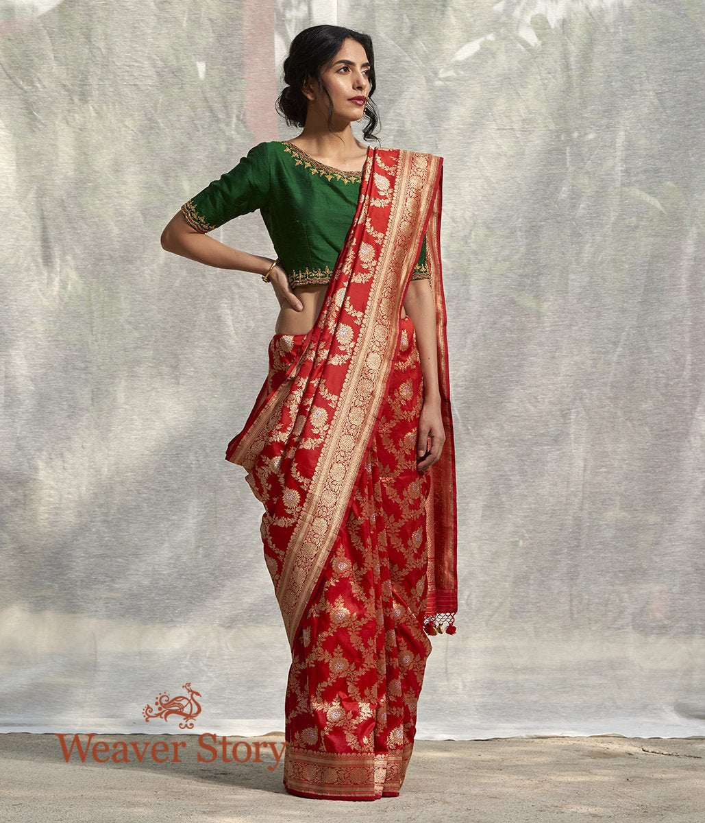Handwoven Red Kadhwa Banarasi Jangla with Floral Weave