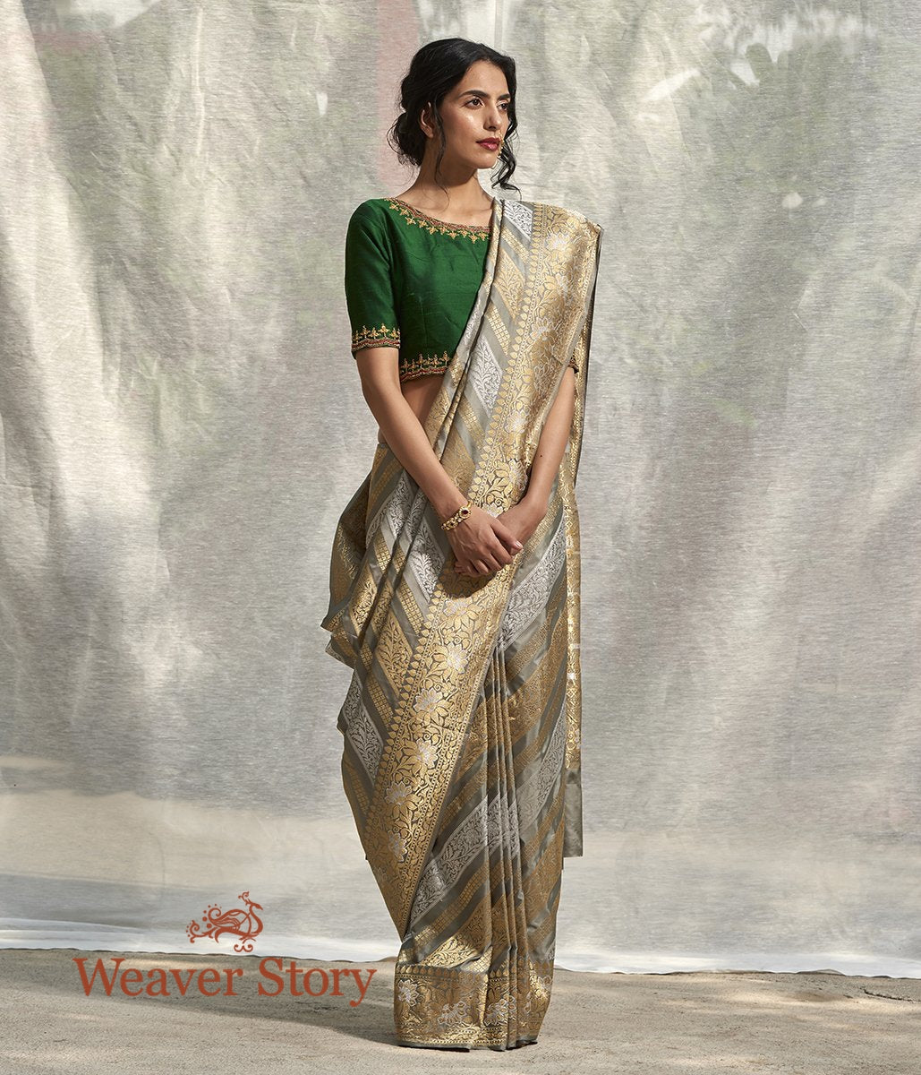 Handwoven Grey Banarasi Saree with Gold and Silver Kadhwa Weave