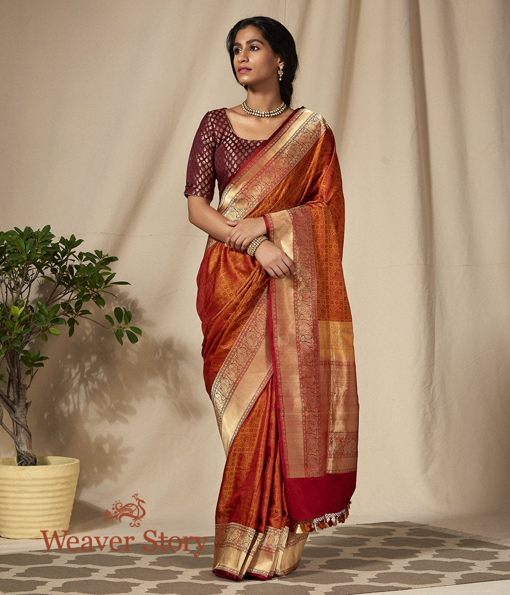Handwoven Mustard and Red Jamawar Saree with Woven Bird Motifs
