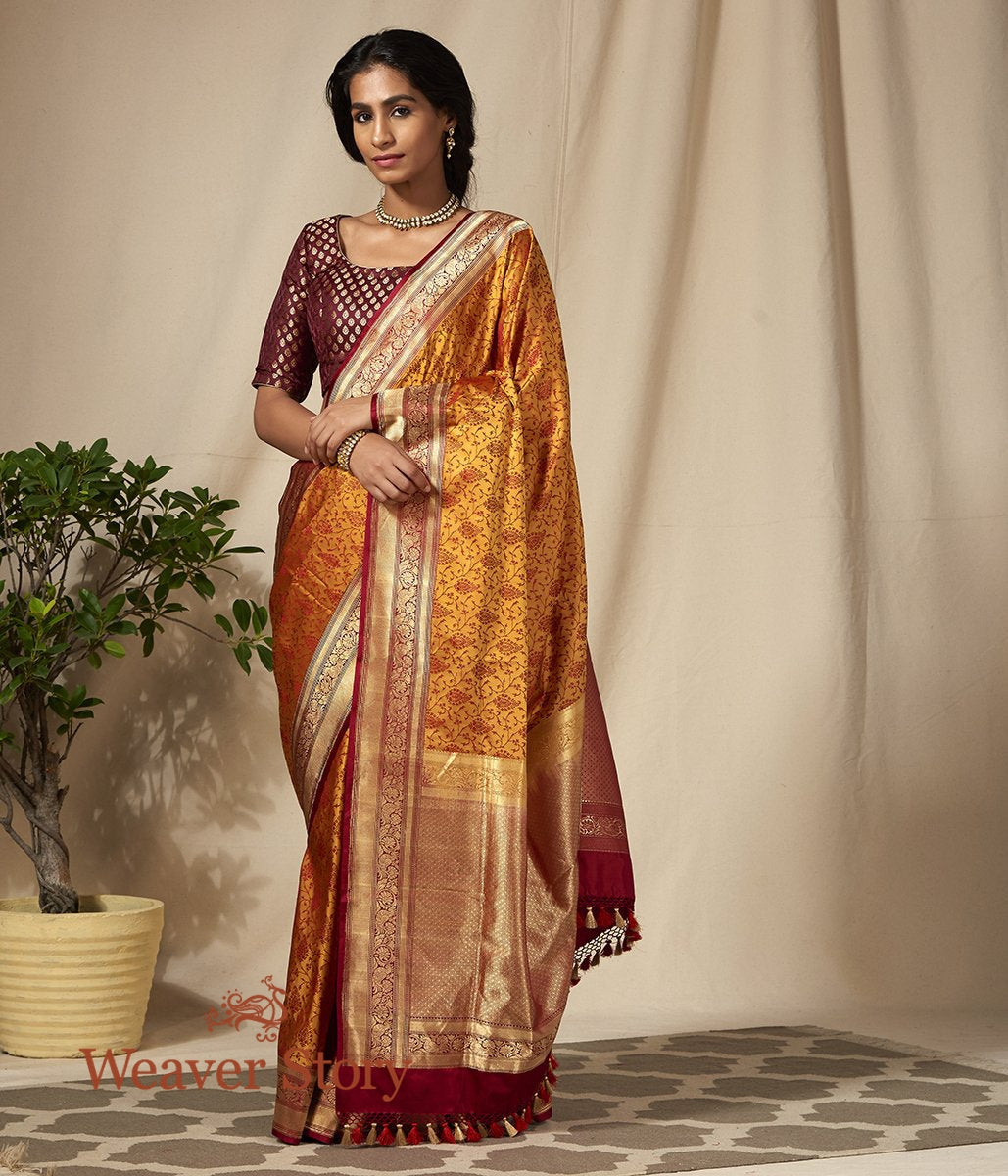 Handwoven Red and Mustard Banarasi Tanchoi Saree with Floral Zari Border