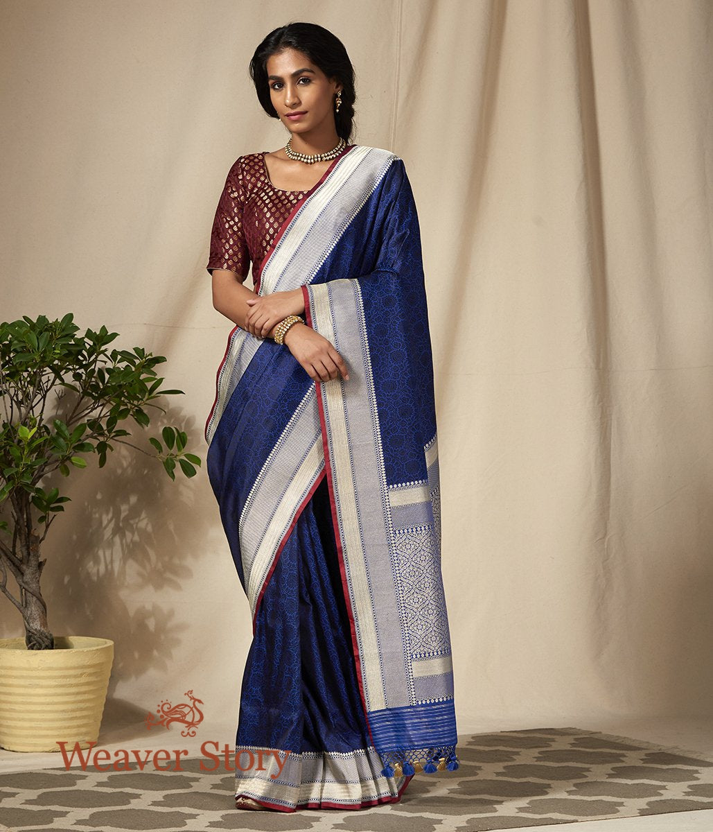 Handwoven Blue Banarasi Tanchoi Saree with Zari Border