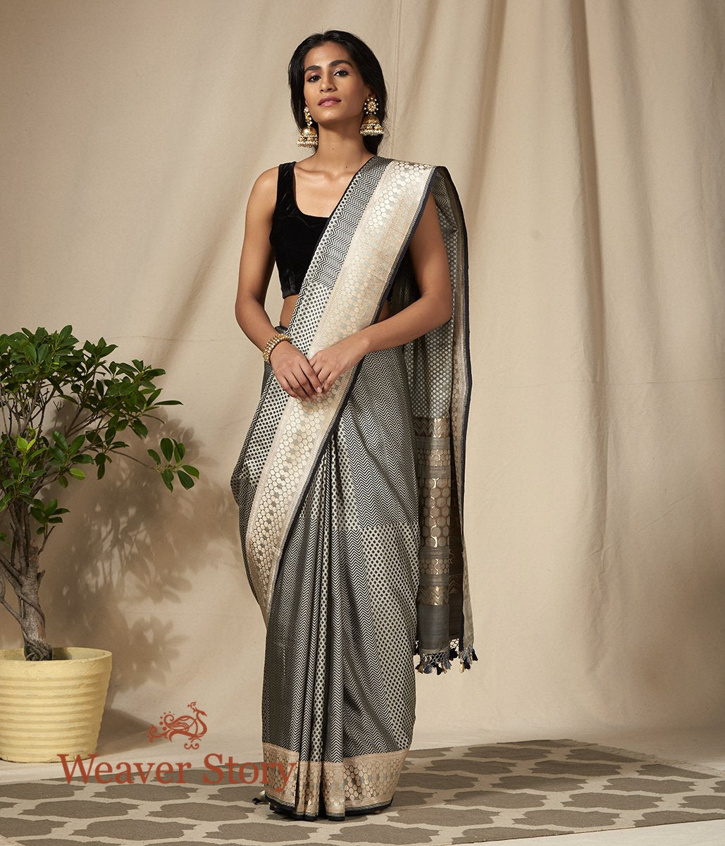 Handwoven Black and Offwhite Banarasi Tanchoi Saree with Woven Zari Border