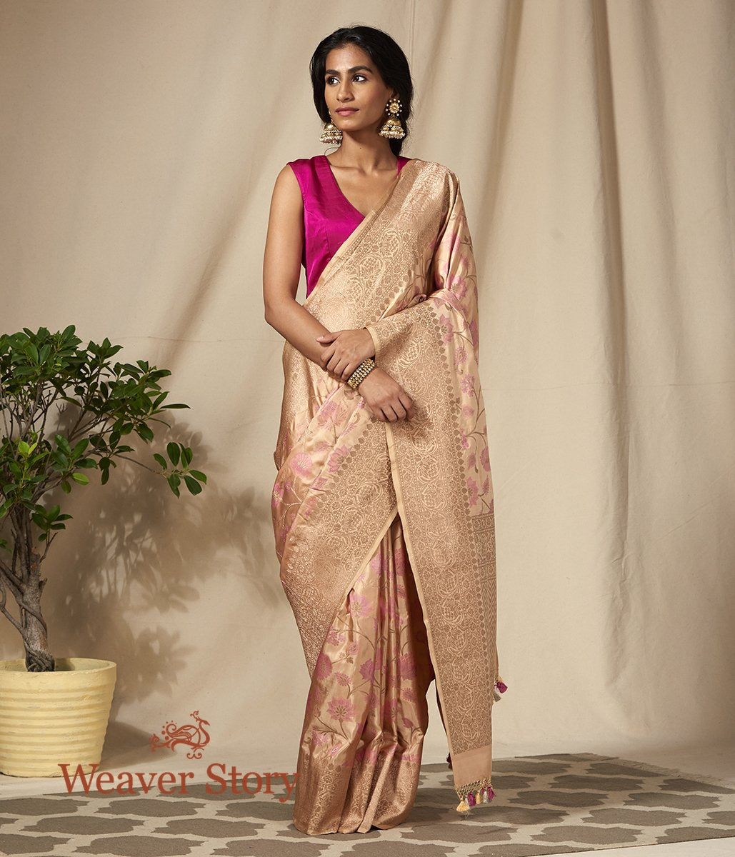Handwoven Beige and Pink Banarasi Saree with Meenkari Jaal