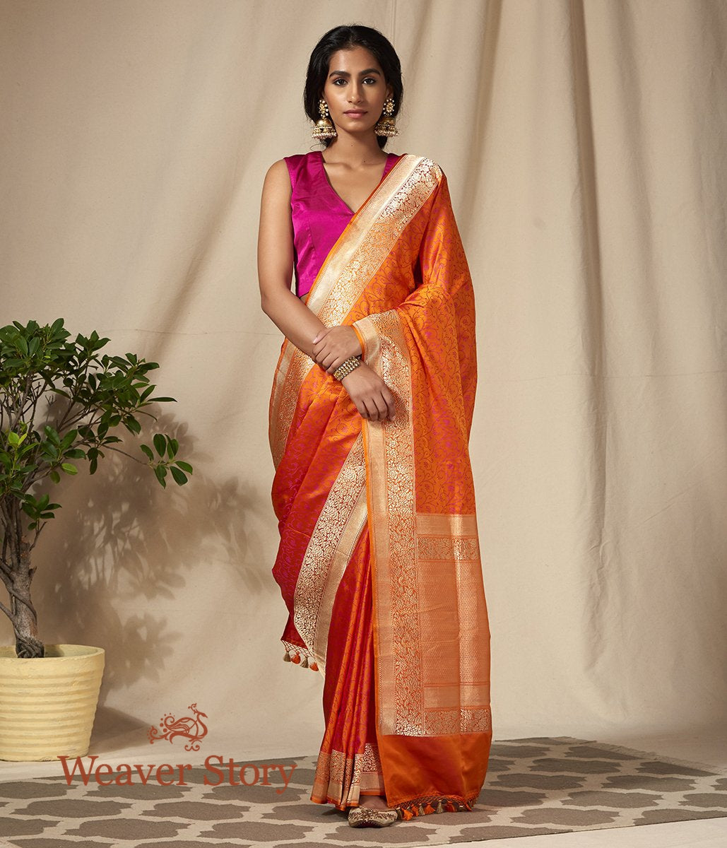 Handwoven Orange and Red Dual Tone Banarasi Tanchoi Saree