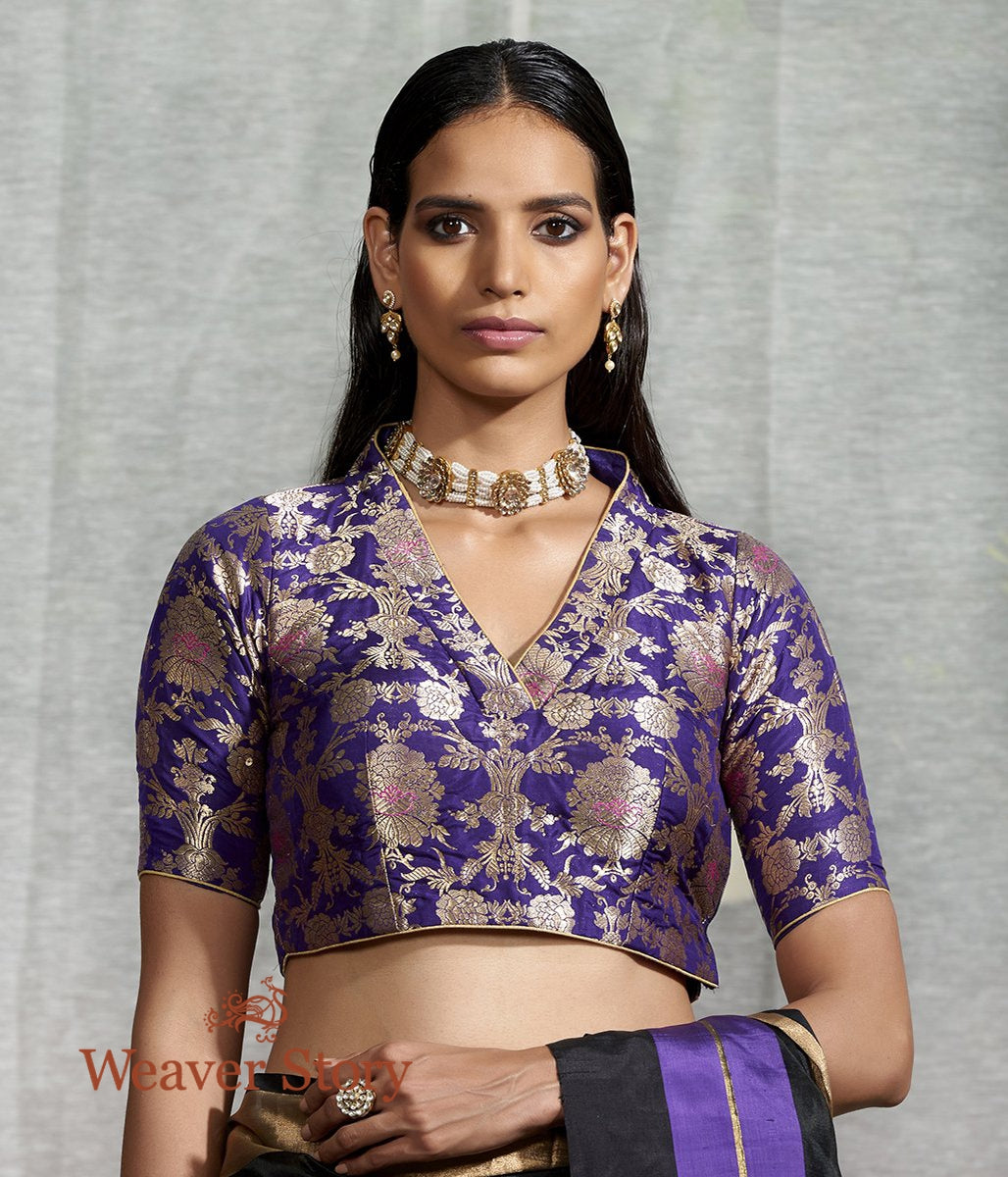 Purple Banarasi Brocade Blouse with Collar Neck