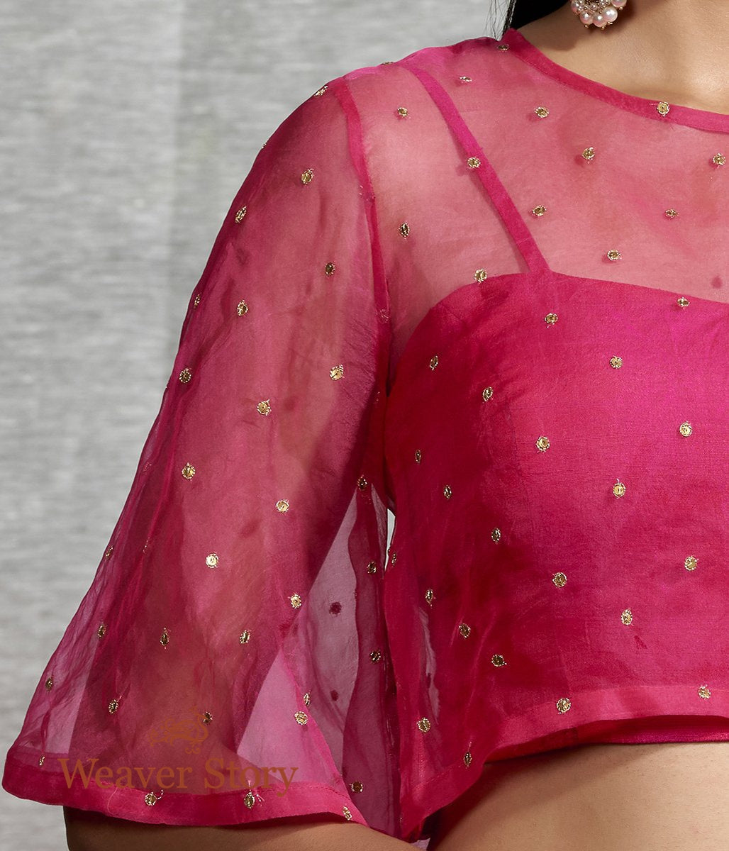 Hot Pink Organza Blouse with Sequins Embroidery and Raw Silk Inner
