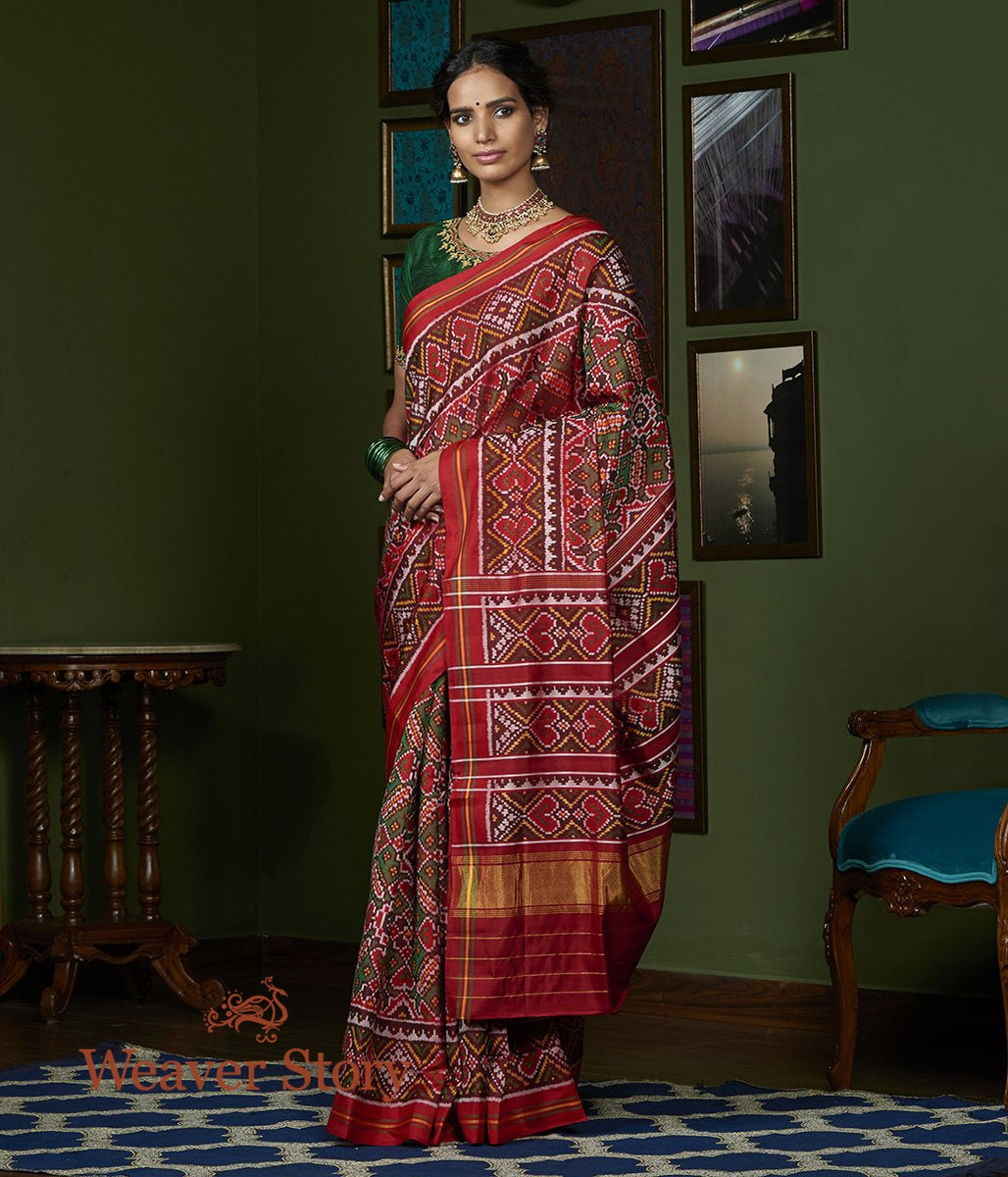 Handwoven Red and Green Gujarat Patola Saree