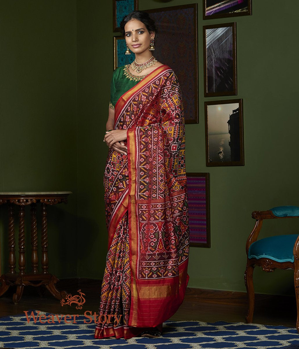 Handwoven Red and Mustard Gujarat Patola Saree