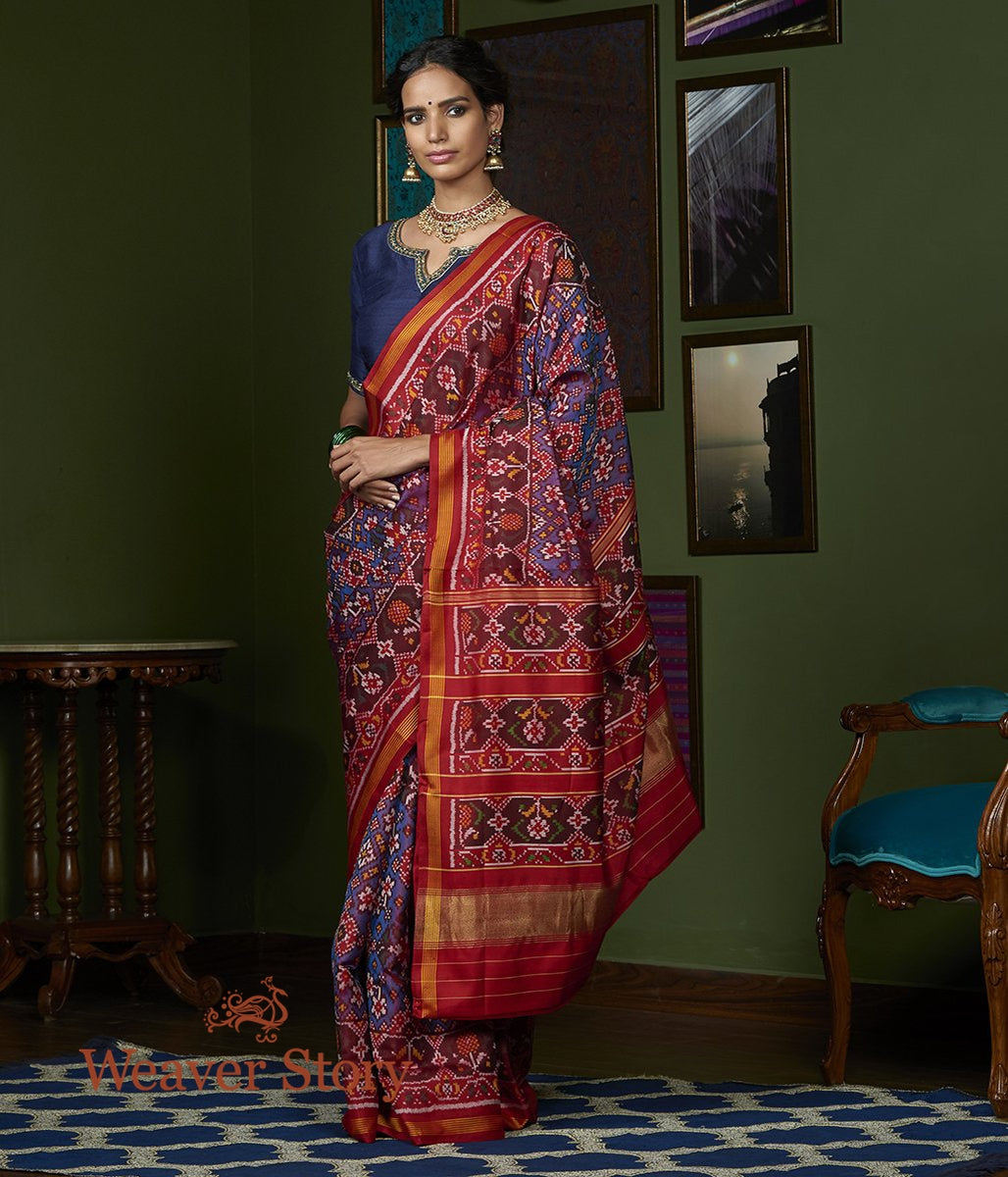 Handwoven Blue and Red Dual Tone Gujarat Patola Saree with Red Border