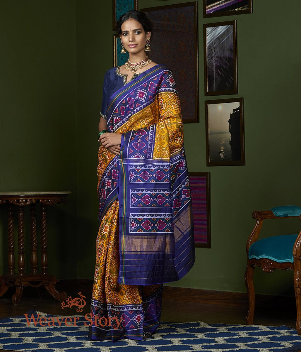 Handwoven Blue and Mustard Gujarat Patola Saree