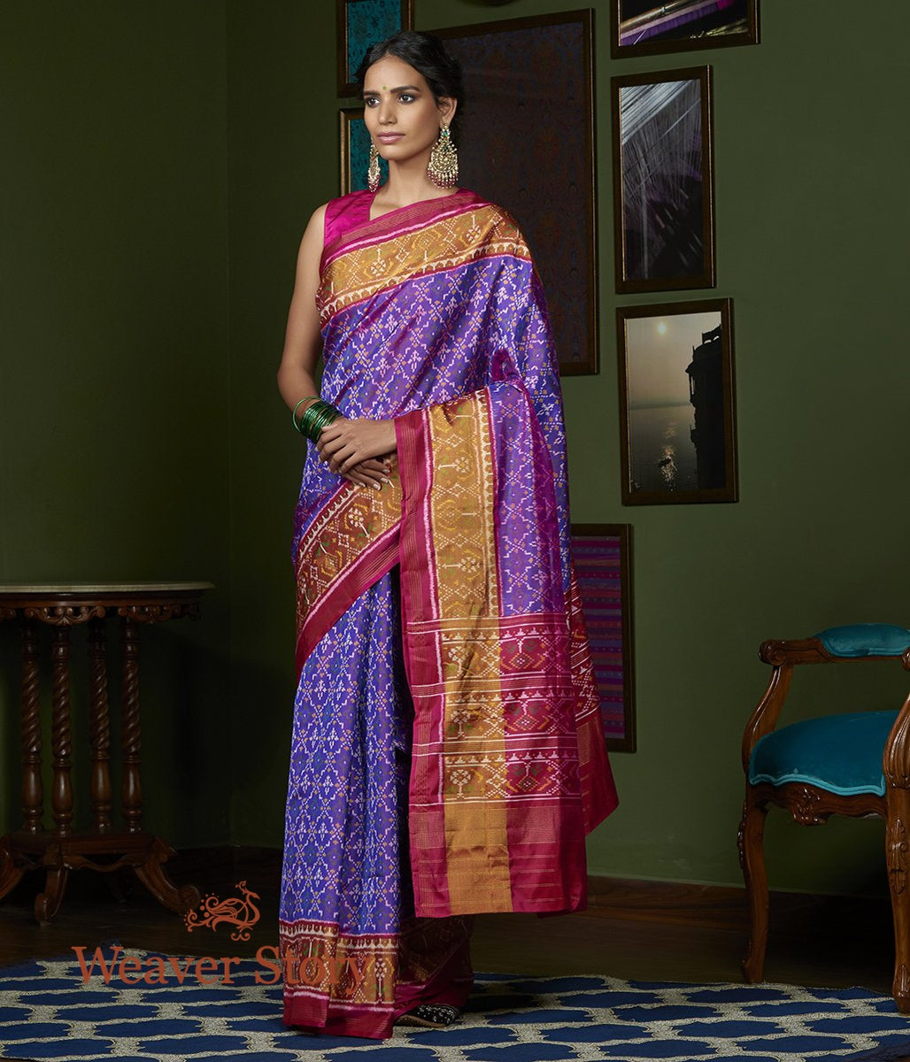 Handwoven Purple and Pink Single Ikat Gujarat Patola Saree